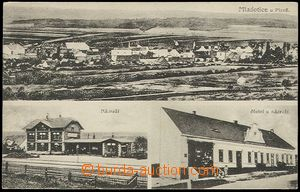 62564 - 1922 Mladotice - 3-views, railway-station, hotel; Us, pulled