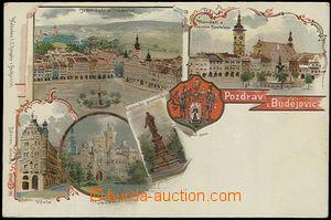 62566 - 1900 České Budějovice - litografická koláž, městský znak; DA