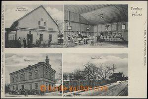 62571 - 1907 Poličná - 4-views, restaurant Pospěchů, hall, schoo