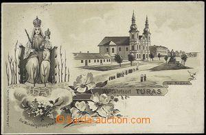 62585 - 1909 Tuřany (Turas) - litografická koláž; prošlá, dobrý stav