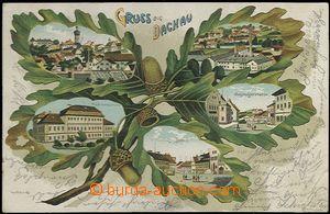 62711 - 1902 Dachau - litografická koláž dubové listí; DA, pro�