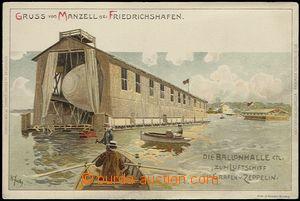 62712 - 1900 Friedrichshafen - litografie, plovoucí hangár pro vzd