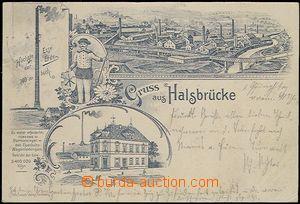 62714 - 1900 Halsbrücke - obrazová koláž, továrna, komín vysok