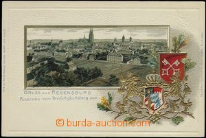 62719 - 1900 Regensburg - litografická koláž, erby, zlacená, tla