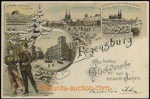 62720 - 1898 Regensburg - zimní pozdrav, litografická koláž, dvo