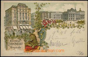 62721 - 1897 Wien - Münchener Löwenbräu Bierhalle, lithography, h