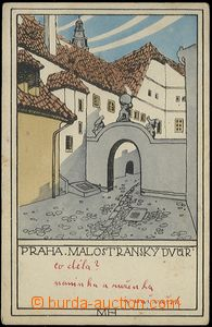 62759 - 1919 Prague, Malostranský yard, lithography, signed MH, iss