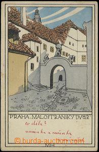 62759 - 1919 Praha, Malostranský dvůr, litografie, signováno MH,