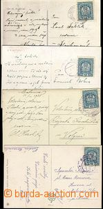 62828 - 1918 comp. 4 pcs of Ppc, every franked with Austrian stmp 12