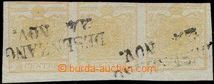 62848 - 1850 Mi.1, issue I, str-of-3 stamp. 5C, HP, type I., žlutoo
