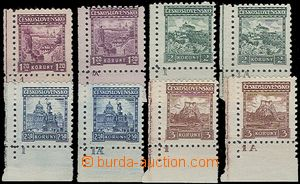 62934 - 1926 Pof.219, 221, 223, 224, Hrady bez průsvitky, dolní ro