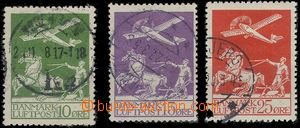 63012 - 1925 Mi.143-45 Airmail, more/larger postmark, No.145 with gu
