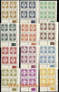 63147 - 1941 Pof.SL1-12, pravé dolní rohové 4-bloky s DČ, svěž