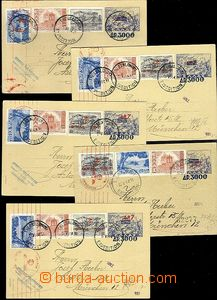 63303 - 1944 comp. 5 pcs of p.stat sent to Germany in period of infl