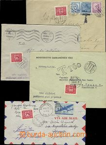 63358 - 1946-49 comp. 10 pcs of entires burdened by postage-due, var