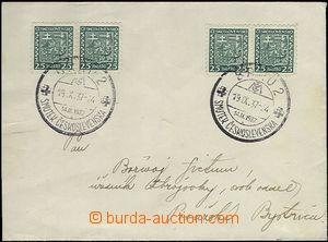 63384 - 1937 Brno 2/ Smutek Českoslevenska, b/ 19.IX.37, 2x chyboti