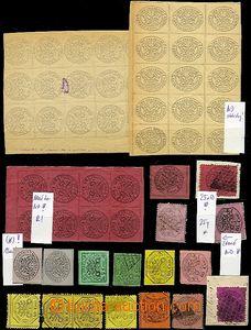 63395 - 1867-68 sestava 50ks známek a novotisků, pěkný studijní