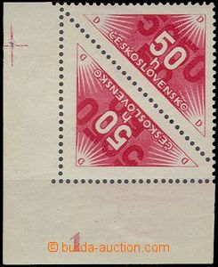 63454 - 1937 Pof.DR2B, Delivery stmp 50h red, corner pair stamp. wit