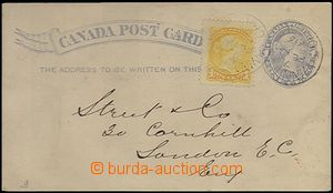 63459 - 1893 PC 1c blue oval, uprated with stamp Mi.26 1c Victoria y