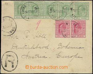 63532 - 1907 Reg letter franked by stmp  5x ½P + 2x 1P (Edward