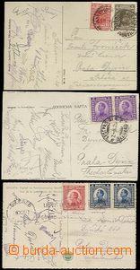 63560 - 1924-26 SPORTOVCI,  3ks pohlednic s podpisy čsl. fotbalistů