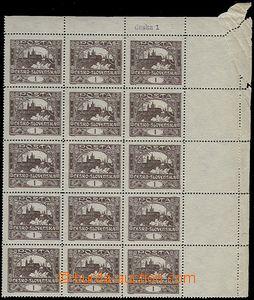 63592 -  Pof.1C, I.TD, rohový 15-blok, tenký průsvitný papír, v