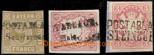 63652 - 1862-67 comp. 3 pcs of stamps with postal agency pmk Schwarz