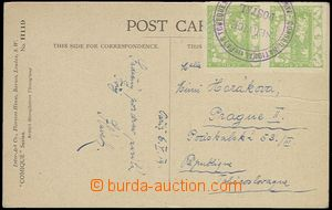 63739 - 1919 COURIER MAIL  PC sent from Paris to Prague, franked wit