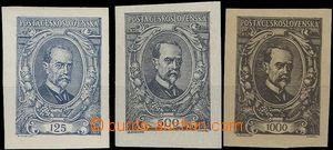 63820 -  Pof.140-142N, nevydané nezoubkované známky, papír s lep