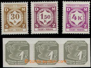 63826 - 1941-43 Pof.SL1+8+11 a novinová 3-páska Pof.NV18, vše smy