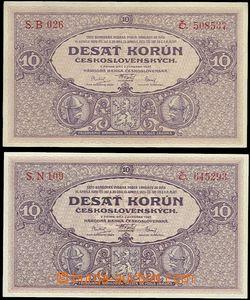 63841 - 1927 ČSR I., 2x bankovka 10Kč (Desať korún), série B a N, 1x