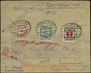 63860 - 1922 Reg and airmail letter with Mi.66, 69, 79, CDS Danzig 2
