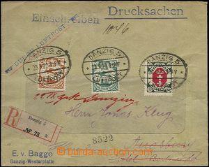 63860 - 1922 R+Let dopis vyfr. zn. Mi.66, 69, 79, DR Danzig 20.9.22,