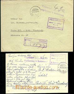63870 - 1945 Prostějov, Reg letter and postcard, cash paid, broken