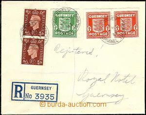 63873 - 1941 GUERNSEY  R-dopis v místě, vyfr. smíšenou frankatur
