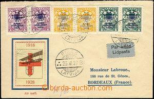 63875 - 1923 Let. dopis do Francie, vyfr. přítiskovými známkami