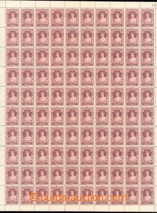 63893 - 1926 Mi.300, complete 100-stamps sheet, in/at folds partiall