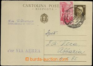 63894 - 1940 LIBYA  Mi.P88 30c, answer part PC sent by air mail from