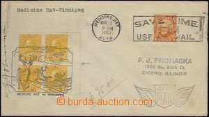 63897 - 1930 air-mail letter (Medicine Hat - Winnipeg) franked with.