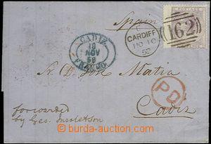 63902 - 1858 skládaný obal dopisu vyfr. zn. 6p, Mi.14 s DR Cardiff