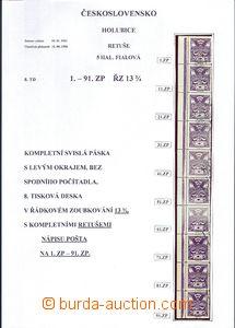 63940 -  Pof.144, retuš 5h fialová, kompletní svislá 10-páska s
