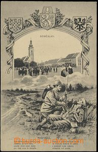 63970 - 1920 Soběslav, square, collage with printings soldiers Czec