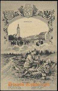 63970 - 1920 Soběslav, náměstí, koláž s kresbou vojáků čsl.
