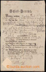 64044 - 1813 Schub-Zettel, postrkový list tištěný, mnoho zápisů, suc