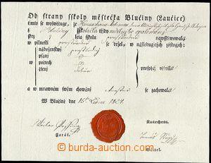 64051 - 1824 tištěné vysvědčení z nedělní školy v Blučině