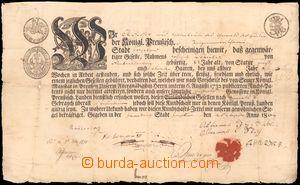 64079 - 1809 vysvědčení, tištěné vysvědčení tovaryše s krásnou inici
