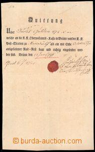 64081 - 1791 Quittung, kvitance nejvyššího poštovního úřadu v
