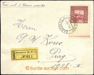64095 - 1911 Reg letter franked with. imperforated stamp. Mi.U42 wit