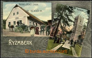 64116 -  Rýzmberk - color coated postcard with castle and pub by/on