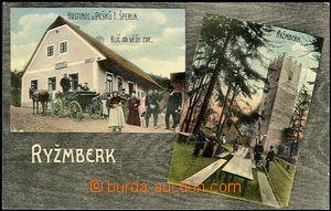 64116 -  Rýzmberk - barevná lakovaná pohlednice s hradem a hostincem